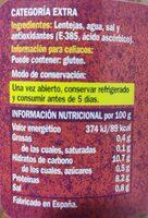 Lentejas Categoría Extra - Información nutricional - es
