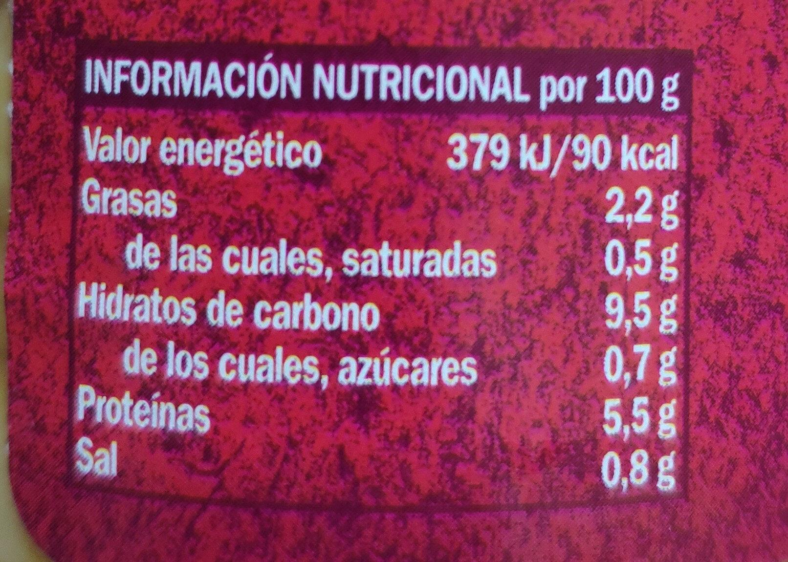 Garbanzos - Valori nutrizionali - es