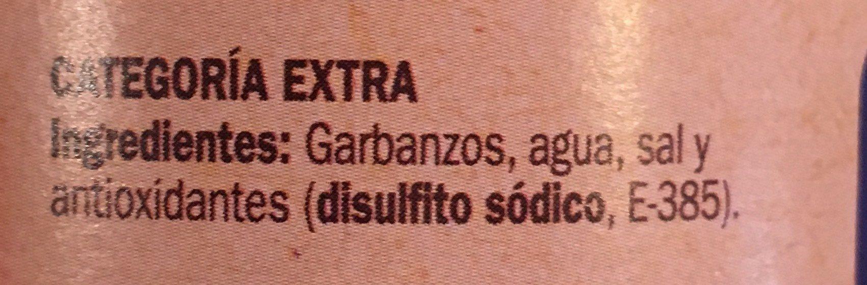 Garbanzo - Ingrédients