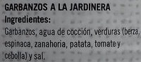Garbanzos a la Jardinera - Ingredients