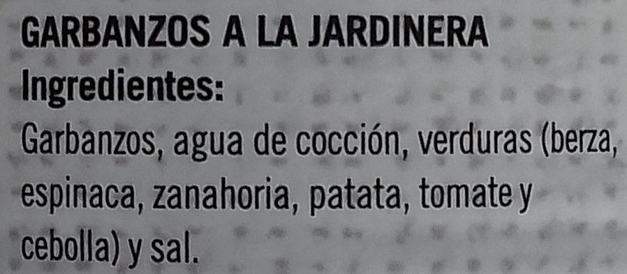 Garbanzos a la Jardinera - Ingredients