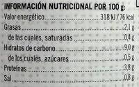 Garbanzos a la Jardinera - Informació nutricional