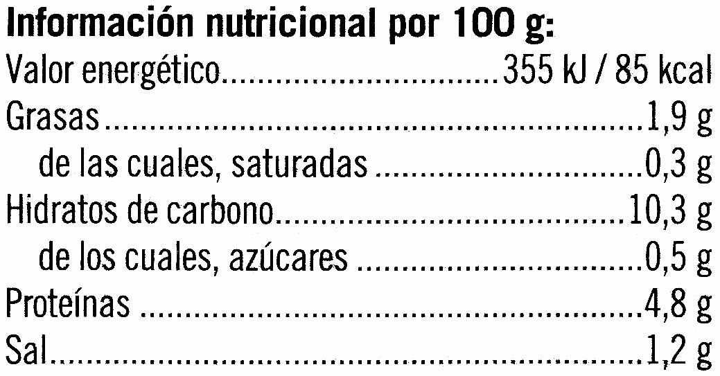 Alubias a la jardinera - Información nutricional - es