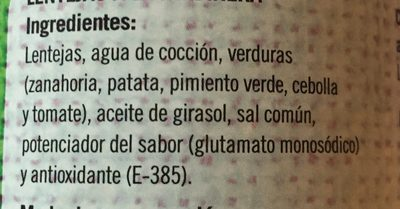 Lentejas A La Jardinera - Ingrédients
