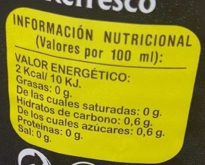 Limón light - Información nutricional