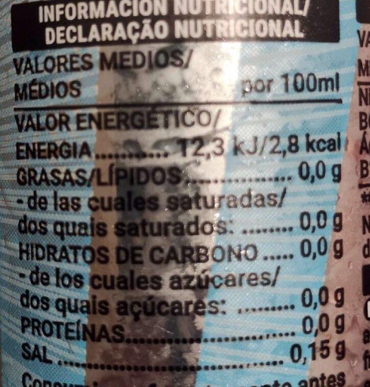 Bebida energética light - Informació nutricional - es
