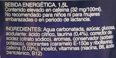 Bebida energética hacendado - Ingredientes
