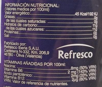 Bebida energética hacendado - Información nutricional