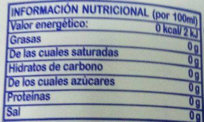 Gaseosa 0% - Información nutricional - es
