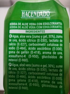 Bebida áloe vera zero - Ingredients