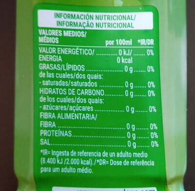 Bebida áloe vera zero - Nutrition facts