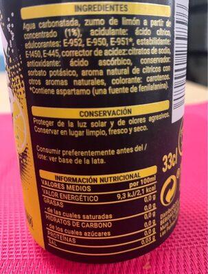 Fresh gas limon zero - Nutrition facts - es