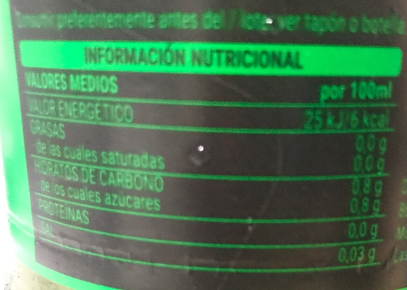 Fresh gas - Informació nutricional