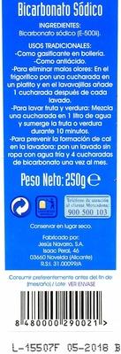 Bicarbonato sódico - Información nutricional