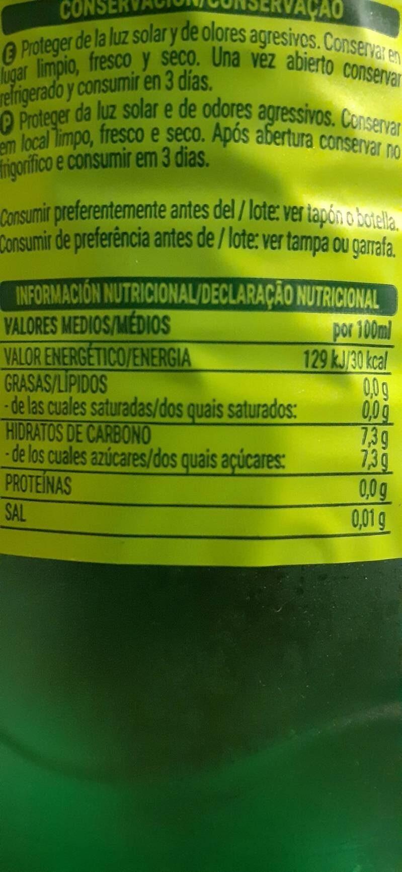 Fresh gas lima-limón - Información nutricional - es