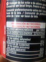 Cola zero Hacendado - Información nutricional - es