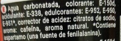 Cola Zero - Ingredientes - es