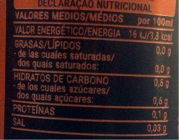 Fresh gas naranja zero - Valori nutrizionali - es