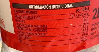 Bebida Refrescante Aromatizada - Nutrition facts - es