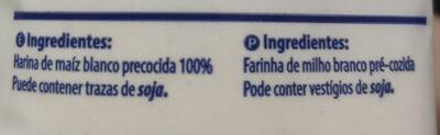 Harina de maíz blanco precocida - Ingredientes - es
