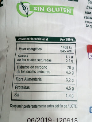 Preparado panificable Sin Gluten - Información nutricional