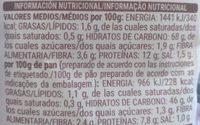 Preparado para pan casero - Informació nutricional