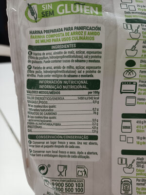 Preparado panificable sin gluten - Informations nutritionnelles - es