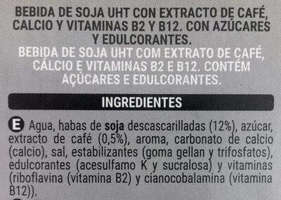 Bebida de Soja con extracto de Café - Ingrédients
