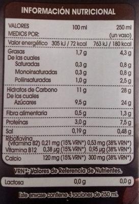 Bebida de Soja con extracto de Café - Información nutricional