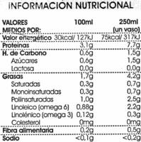 Bebida de soja sin azúcares añadidos - Informació nutricional