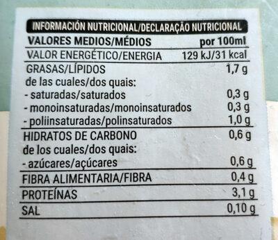 Bebida de soja sin azúcares añadidos - Información nutricional