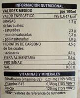 Soja sabor vainilla - Información nutricional