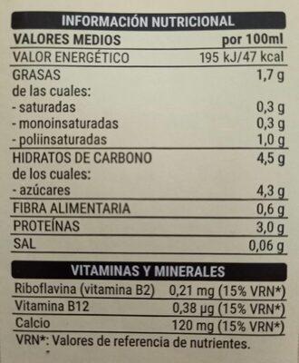 Soja sabor vainilla - Información nutricional - es