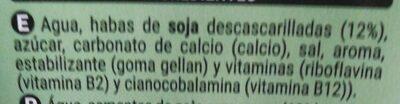 Bebida de soja calcio - Ingredientes