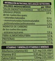 Bebida de soja calcio - Información nutricional