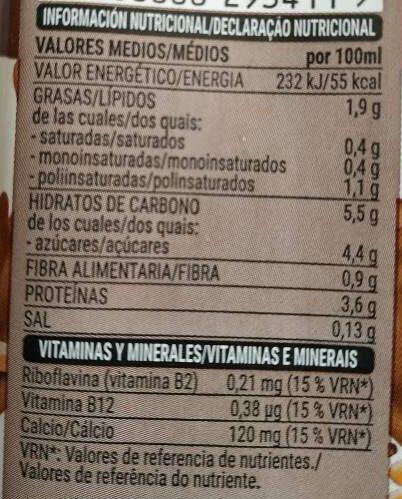 Bebida de soja con chocolate - Información nutricional - es