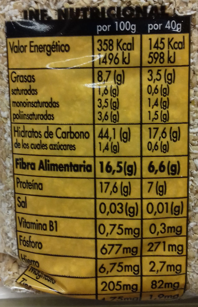 Salvado de avena - Nutrition facts