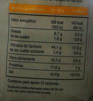 Flocons d'avoine - Informació nutricional