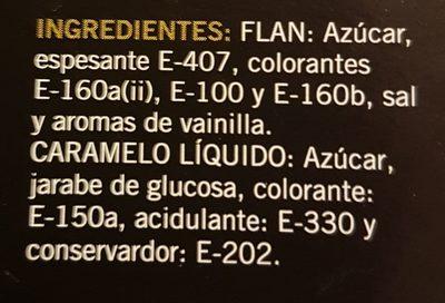 Flan con Azúcar y Caramelo Liquido - Ingredientes
