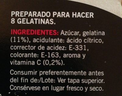Gelatina sabor frambuesa - Ingrédients - fr