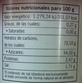 Sirope de chocolate - Informació nutricional