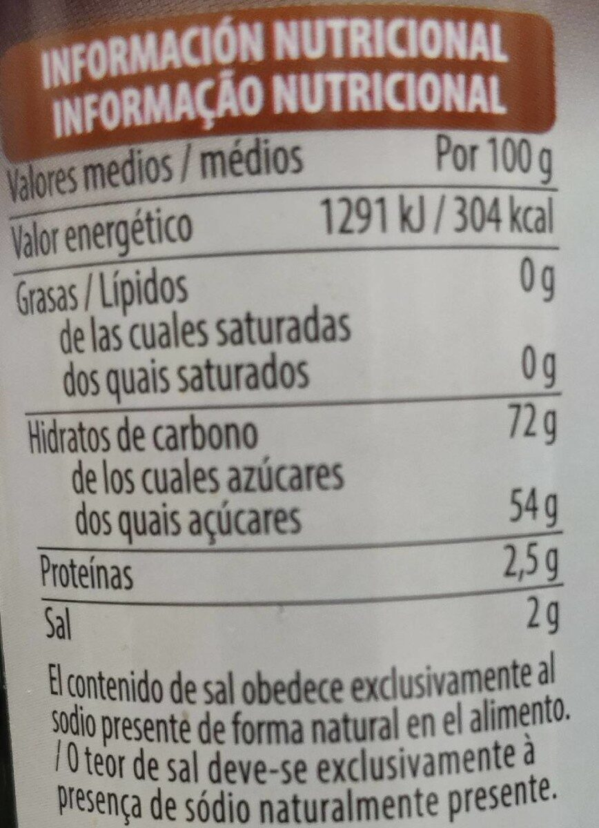 Sirope de chocolate - Informations nutritionnelles - es
