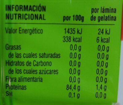 Gelatina neutra - Información nutricional