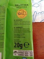 Gelatina neutra - Ingrediënten - es
