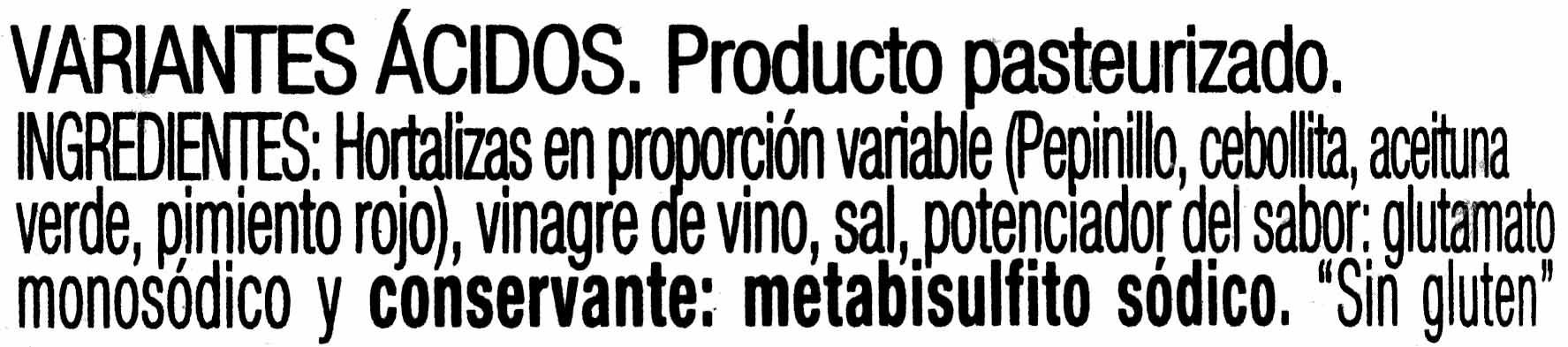 Aperitivo de encurtidos - Ingredientes