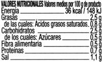Aperitivo de encurtidos - Información nutricional