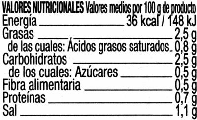 Aperitivo de encurtidos - Informació nutricional - es