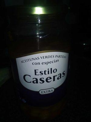 "Aceitunas verdes partidas con especias ""Estilo Caseras"" - Produit"