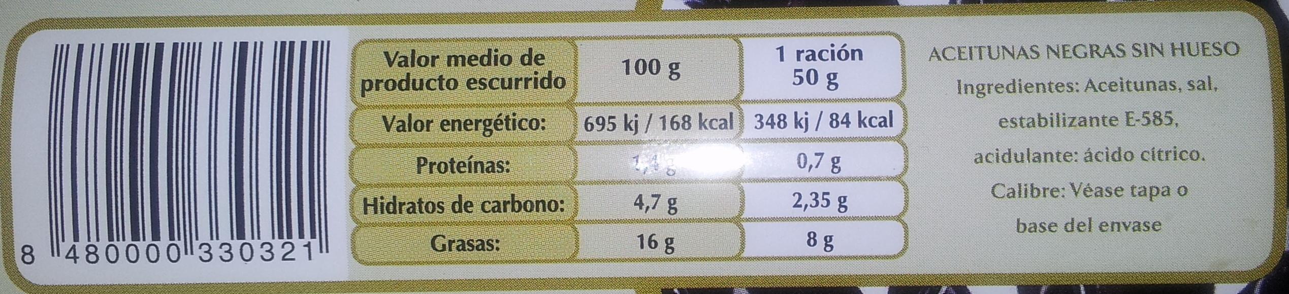 Aceitunas Negras sin Hueso - Información nutricional