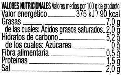Aceitunas gordales con pepinillos en vinagre - Información nutricional